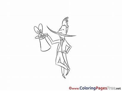 Coloring Magician Invitation Ausmalbild Zauberer Zirkus Sheet