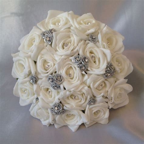 artificial wedding flowers silverwhite foam rose wedding