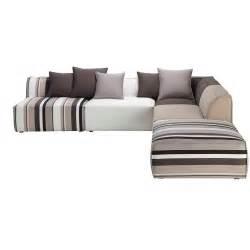 Canape D4angle by 5 Seater Cotton Modular Corner Sofa Striped Manhattan