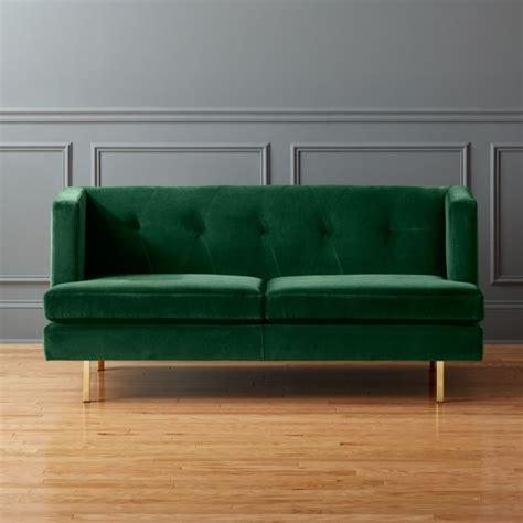 avec apartment sofa  brass legs como emerald cb