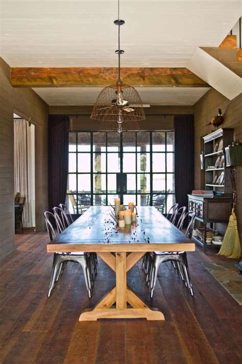 industrial farmhouse dining room  wooden table hgtv