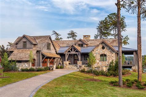 timber frame home with farmhouse interiors overlooking lake keowee