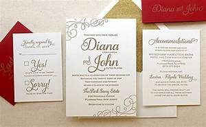 the casablanca suite classic letterpress wedding With diy red and gold wedding invitations