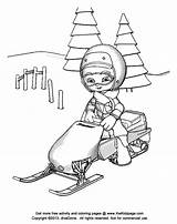 Snowmobile Coloring Pages Drawing Cartoon Colouring Rider Winter Printable Sheets Kid Polaris Christmas Popular Getdrawings Templates Bike Template sketch template