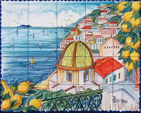 Tile Mural Coast of Positano Italy Hand Painted Art Tile