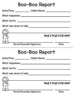 free boo boo report sheet for daycares and teachers the