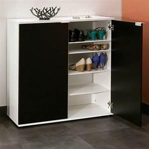 Meuble Chaussure Noir : meubles chaussures meubles et rangements meuble chaussures class design blanche 2 portes ~ Teatrodelosmanantiales.com Idées de Décoration