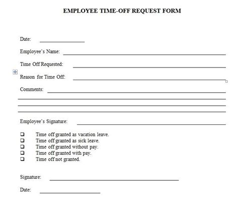 22297 request for time form employee time request form template excel and word