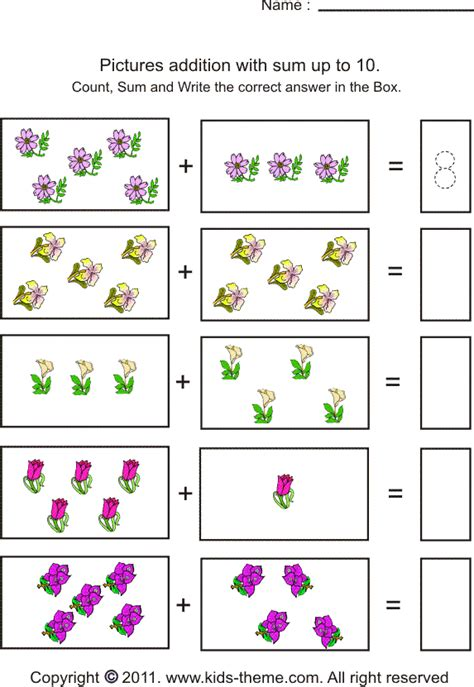 addition worksheets 1 10 free worksheets library
