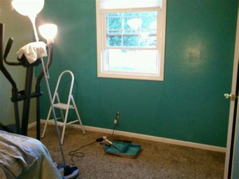 tidal teal paint by lowes valspar decided to be a funky in the spare bedroom