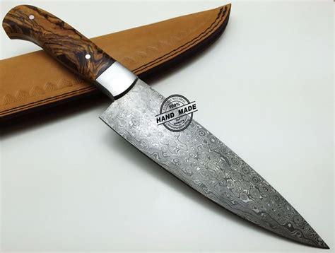 damascus knife kitchen custom handmade steel chefs handle wood rose leather regular 1569 sheaths