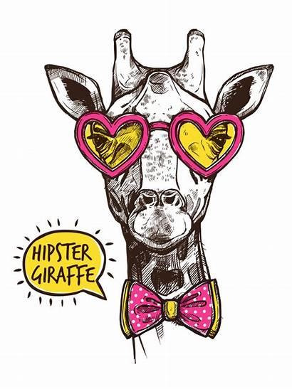 Hipster Animal Vector Poster Giraffe Glasses Freepik