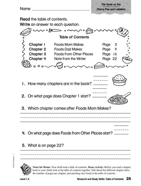 table of contents worksheets for 2nd grade worksheets for