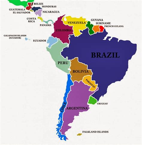 south america central america map  travel information