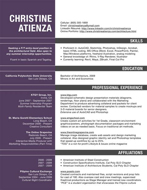 Architectural Resume Template by Architecture Villa Image Architecture Resume
