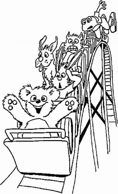 Coaster Roller Coloring Drawing Pages Summer Amusement
