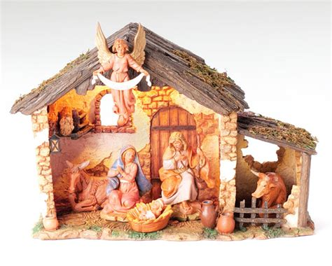 fontaninistore com 5 inch scale 6 pc lighted nativity set