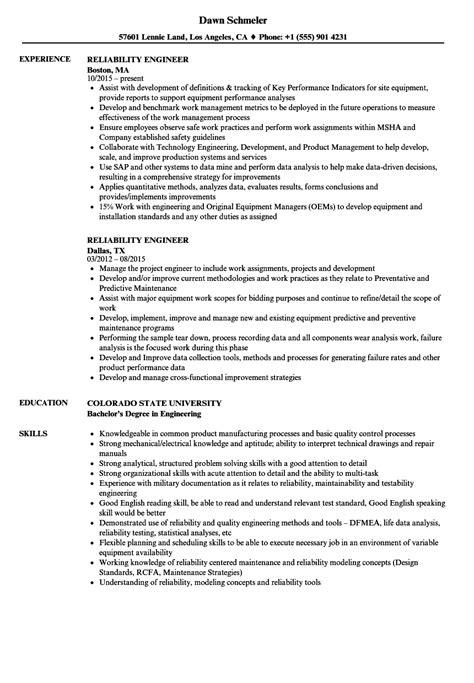 reliability engineer resume sles velvet