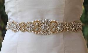 gold bridal sash white opal gold sash milk opal crystal With gold belt for wedding dress