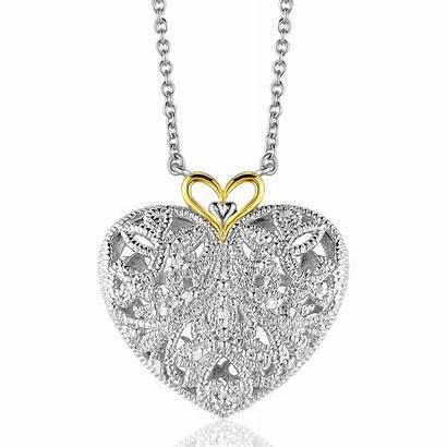 Heart Pendant Filigree Diamond Gold Silver Yellow