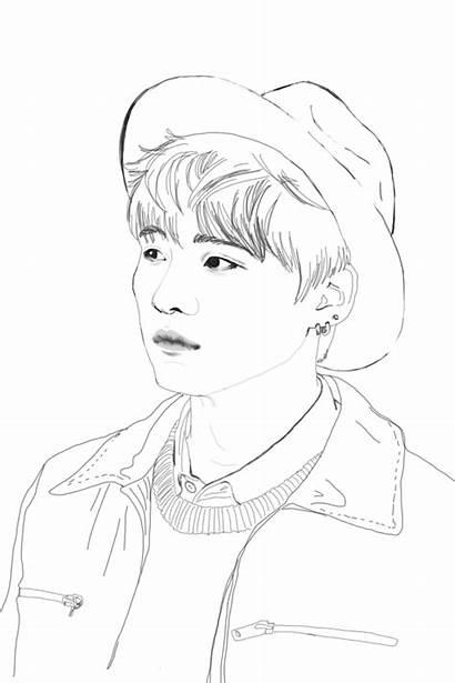 Bts Coloring Jimin Suga Pages Kpop Sketch