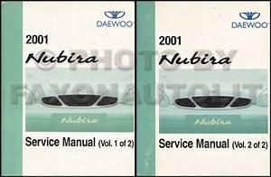 2001 Daewoo Nubira Repair Shop Manual Original 2 Volume Set