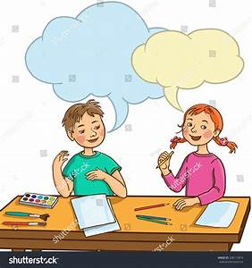 Two Kids Talking Together Art Class Stock Vector 208113874 ...