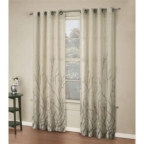 alton print grommet window curtain panel trees tans and