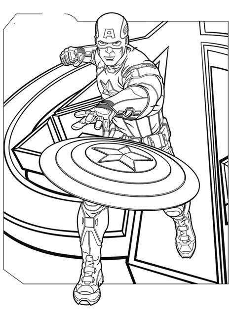 Kaptain Amerika Kleurplaat by Captain America Coloring Pages For Coloring Home