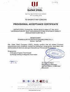 certificates Peninsular Petrotech Engineering W L L