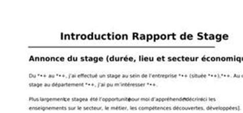rapport de stage cuisine collective introduction rapport de stage exemple introduction