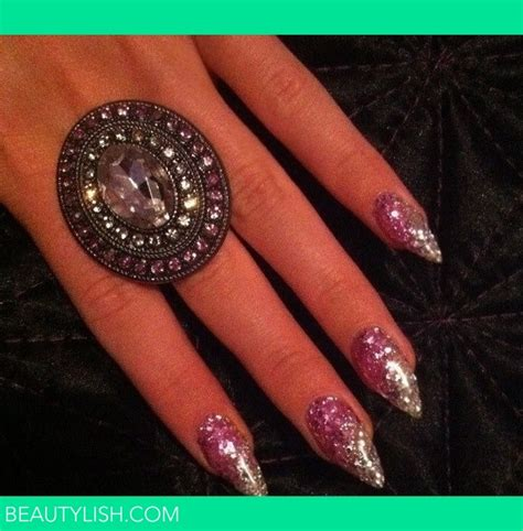 pink  white glitter gel nails kirsty hs photo