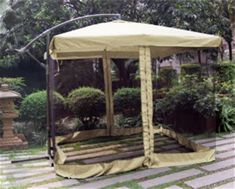 9 ft offset patio umbrella gazebo mesh tent post tilt ebay