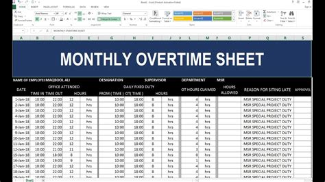 monthly overtime sheet  excel hindi