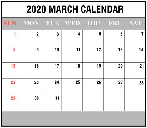 blank march printable calendar excel word