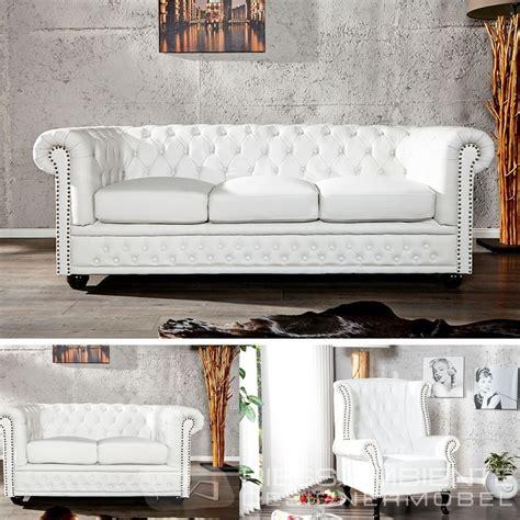 chesterfield sofa weiss chesterfield sofa oder sessel weiss nieten polstersofa sofa ebay