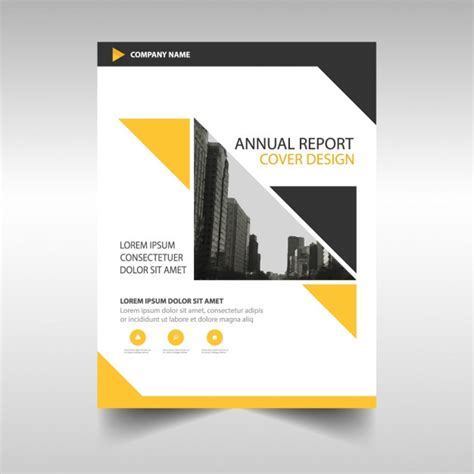 free annual report yellow brochure annual report vector free download