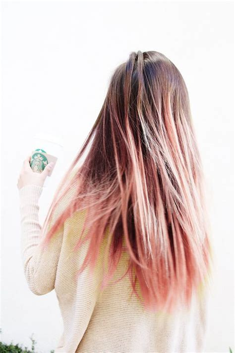 Brown Hair With Pastel Pink Dip Dye Hair Pinterest