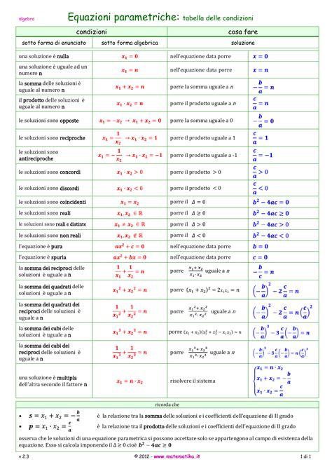equazioni parametriche casi equazioni parametriche il vademecum mate