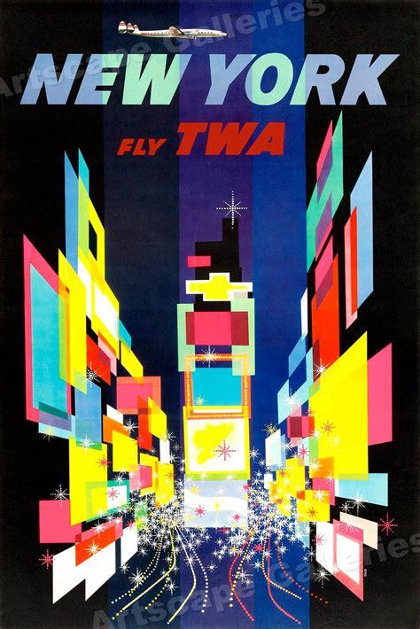 1960s New York Times Square Twa Vintage Style Travel Poster  20x30 Ebay