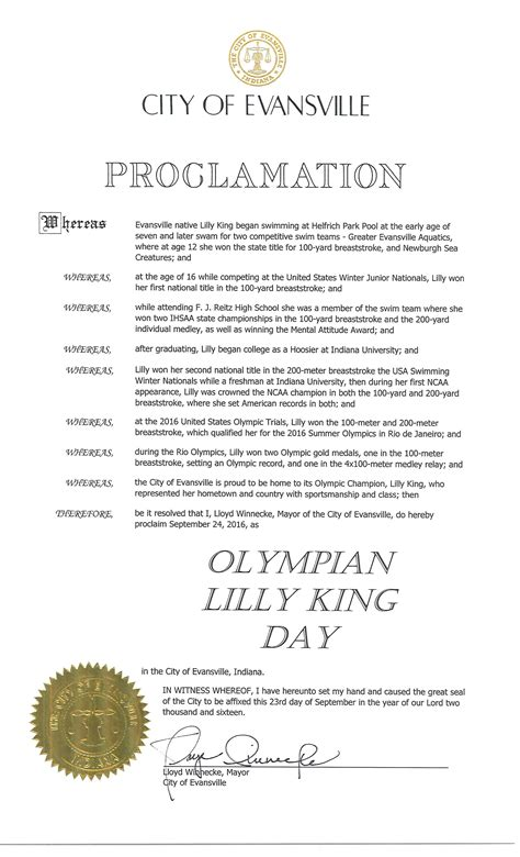 mayoral proclamation examples city  evansville
