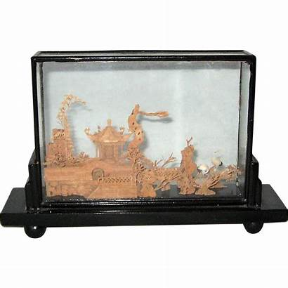 Cork Glass Chinese Wood Scene Carved Case
