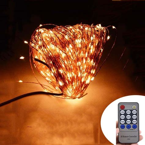led string lights with remote remote control 50m 165ft 500 leds copper wire warm white