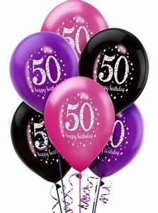 50th birthday balloons 6ct pink sparkling celebration ...