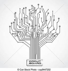 Vector illustration of circuit board shaped tree vector for Small circuit boards