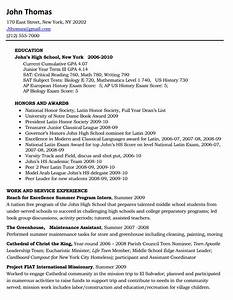 Example of a high school resume for college