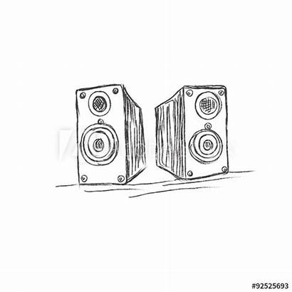 Sketch Speakers Hoegtalare Skissar Vektorn Vektor Nt
