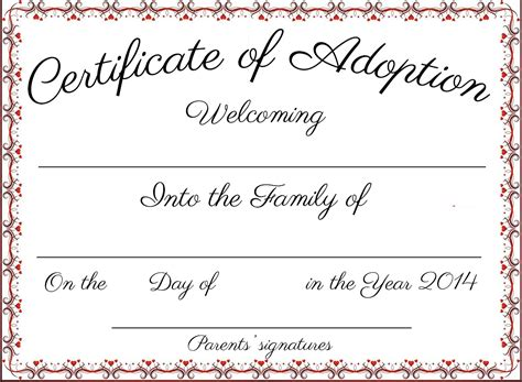 Blank Adoption Certificate Template by Certificate Pet Adoption Certificate Template Best