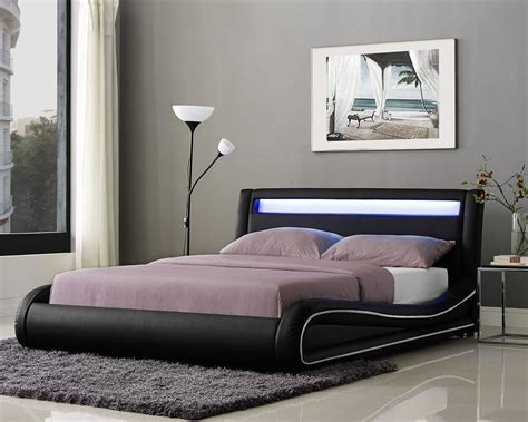Leather Bed Headboard by Led Bed Frame Or King Size Faux Leather Bed Led