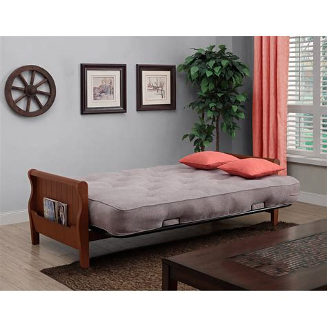 wood futon convertible sleeper wood arm futon sofa bed 8 inch coil